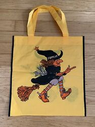 1980's Halloween Trick Or Treat Yellow Candy Bag Witch On Broom Not Ben Cooper