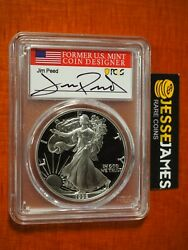 1992 S Proof Silver Eagle Pcgs Pr70 Dcam Jim Peed Hand Signed Flag Label