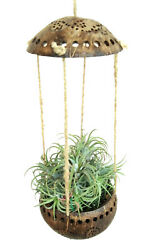 Coconut Shell Pot Planter Hanging Orchid Flower Basket Parrot Play Balcony Decor