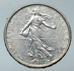 1962 France La Semeuse French Sower Woman Old Large Silver 5 Francs Coin I85885