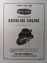 West Bend 2760 2761 27612 Vertical Engine 2-cycle Parts Manual Lawn Mower 1959