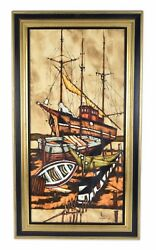 Vintage Mid-century Modern Abstract Oil Painting Fishing Boats Shipyard Sgd Arco