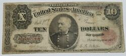 1890 Treasury Note -ten Dollars- Gen Sheridan Red Star A3259704 Extremely Rare
