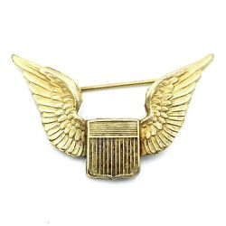 Wwi Vintage Gold Over Sterling Silver Pilot Wings 2 Inches Wide X 1-1/4 Inches