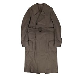 Nwt Rick Owens Dust Cotton Woven 'della' Long Trench Coat Size 40/50 3640