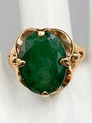 Antique 1940s Retro 10000 12ct Colombian Emerald 10k Yellow Gold Ring