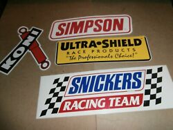 Vintage Decals Stickers Simpson Koni Shocks Snickers Racing Ultra Shield Race