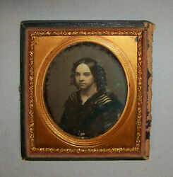 Antique 1850s Daguerreotype Young Woman See Through Dress Working Girl 1/6 Plat