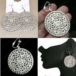 Clips/hooks 4cm Round Disc Circle Drop Earrings Metal Silver Tone Antique Style
