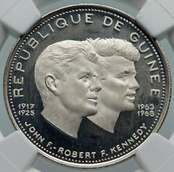 1969 Guinea W Jfk And Rfk John F. Kennedy Proof Silver 200 Francs Coin Ngc I85994