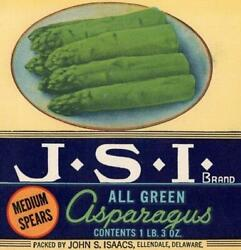 Asparagus Ellendale Delaware John Isaacs Grower And Canner Vintage Can Label