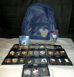 Disney Store 30th Anniversary Complete Set Of 30 Pins+ Jiminy Cricket And Backpack