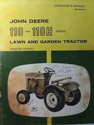 John Deere 110 Round Fender Lawn Garden Tractor Owner, Parts And Suppl 2 Manual S