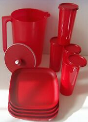 Tupperware Red 8 Square Luncheon Plates 1 Gallon Pitcher 16 Ounce Tumblers