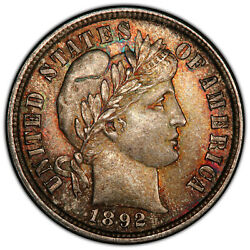 1892 10c Pcgs Ms 66 Repunched Date Colorful Barber Dime Variety