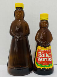 Lot Of 2 Vintage Mrs. Butterworth's Amber Glass Syrup Bottles 12oz And 24oz