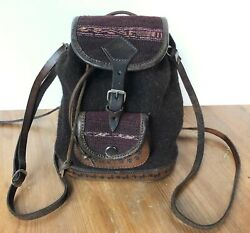 Wool And Leather Handwoven Peruvian Mini Backpack Bucket Purse NWOT $23.99
