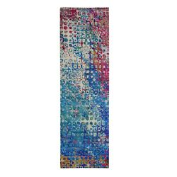 3and039x10and0391 The Peacock Sari Silk Colorful Runner Hand Knotted Oriental Rug R59241