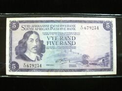 South Africa 5 Rand 1966 P112a Sign 4 Suid Afrika Rare 234 Banknote Money