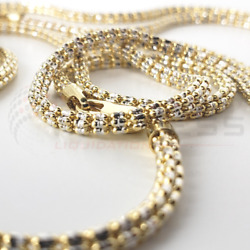 Solid 10k Yellow Gold 3.5 Mm Iced Diamond Cut Mesh Rope Chain Necklace 16-30
