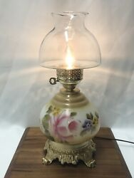 Antique Vtg Hand Painted Milk Glass Floral Lamp Oil Style Pink Rose Gwtw Banquet