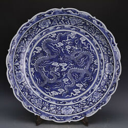 25.1 China Old Antique Blue White Double Dragon Large Porcelain Plate Plate