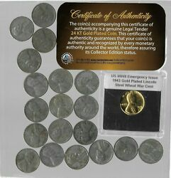 🔥 Rare 1943 Wwii Us Collectible Penny Collection War Gold Plated Coin Lot 207