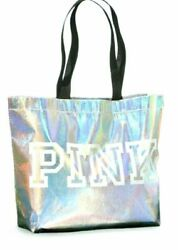 Victoria#x27;s Secret PINK Logo Iridescent Silver Reusable Shoulder Big Tote Bag NWT $14.87