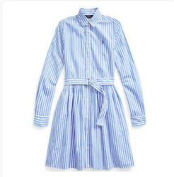 NWT Ralph Lauren Polo Girls Striped Cotton Shirtdress Size 12