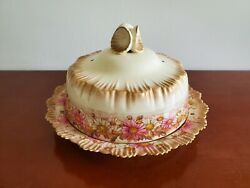 Antique George Jones And Sons Stoke Crescent Covered Butter/cheese Dish