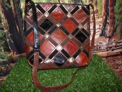 Vintage SHARIF Patchwork Leather Crossbody Shoulder Bucket Handbag $39.00