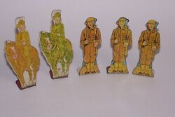 Vintage 5 Marx Tin Soldiers Targets Cavalry And Private 1930s