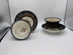 Staffordshire Spatterware Spatter Cup And Saucer Lot Black Brown Rose Ca. 1830