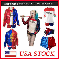 Women Adult Harley Quinn Suicide Squad Coat Shorts Set Halloween Cosplay Kids $19.99