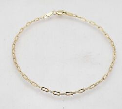 Baby Oval Paper Clip Link Chain Bracelet Real Solid 10k Yellow Gold All Sizes