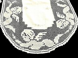 Wonderful Antique Irish Cotton Hand Crafted Two Table Runners And Fillet Lace