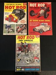 3 Vintage Hot Rod Annual Magazines 1958 1959 1961 Roadsters Detroit Engines ++++