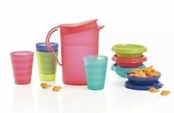 Tupperware Mini Impressions Set Pink Kids Play Toy Pitcher Tumblers Cereal Bowls