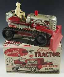 1950and039s Marx Climbing Tractor Sparkling Tractor Blade Highboy Windup Toy Mib 5
