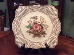 Myott Son Co Bonnie Dundee Sandwich Square Plate Gold Flower 11.5 In England