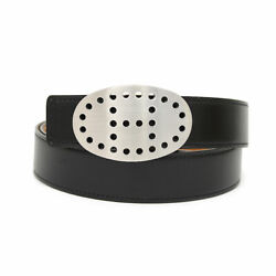 Pre-owned Hermes Box Calf X Togo Evelyn Oval Buckle Punching Logo Black X Brown
