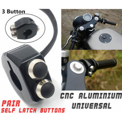 Pair Cnc Self Latching Switch Motorcycle Cafe Race Handle Grips Reset Buttons