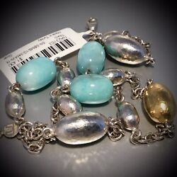 """Nwt Gurhan Sterling Silver And 24k Gold Vermeil Amazonite Stone Necklace 18"""" L"""