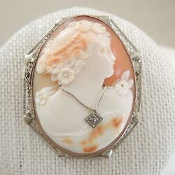 Antique 14k White Gold Filigree Cameo Carved Shell Brooch Diamond Lady Portrait