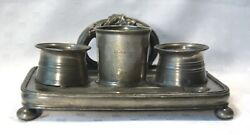 Antique Inkwell Stand Pewter Footed Tray Pen Holder Ink Well James Dixon And Sons