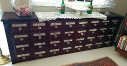 19thc Victorian Pharmacistand039s Apothecary Cabinet W/original Glass/brass Mounts
