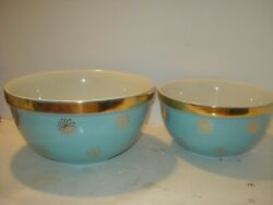 2 Vintage Hall Pottery Aqua Turquoise French Daisy w Gold Mixing Bowl#x27;s