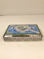 Rare Persian Sterling Silver Fine Enameled Deer Large Box. Gorgeous