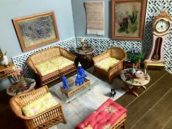 116 Dollhouse Cane Rattan Living Room Set Sofa Armchairs Yellow Pink - Lundby