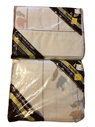 Vintage Danville No Iron Percale Sheets Set Twin Flat Fitted 1980s Beige Grid